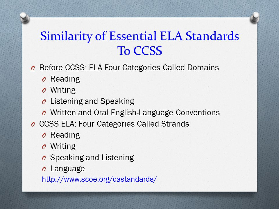 Similarity of Essential ELA Standards To CCSS