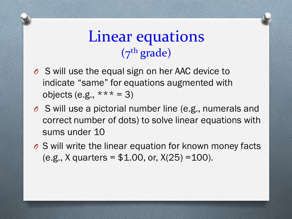 Linear equations (7th grade)