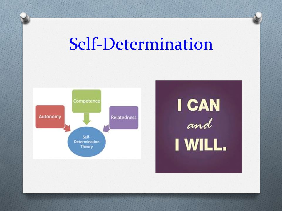 Self-Determination Let's move on to Self-Determination for our SH student's…