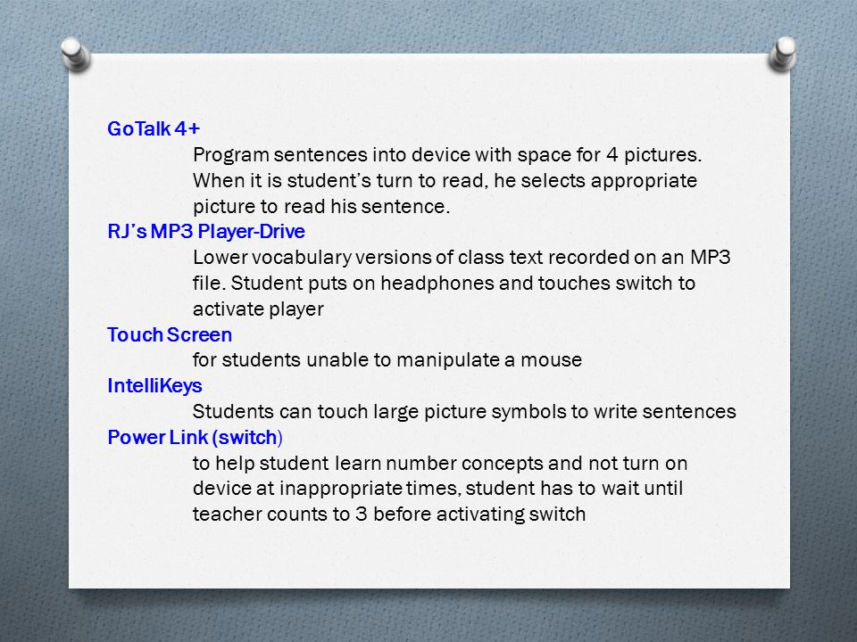 for students unable to manipulate a mouse IntelliKeys