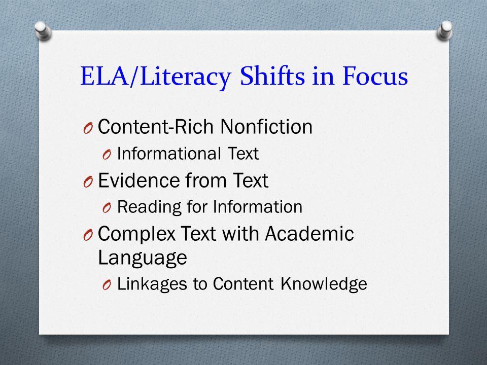 ELA/Literacy Shifts in Focus