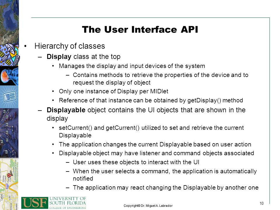 The User Interface API Hierarchy of classes Display class at the top