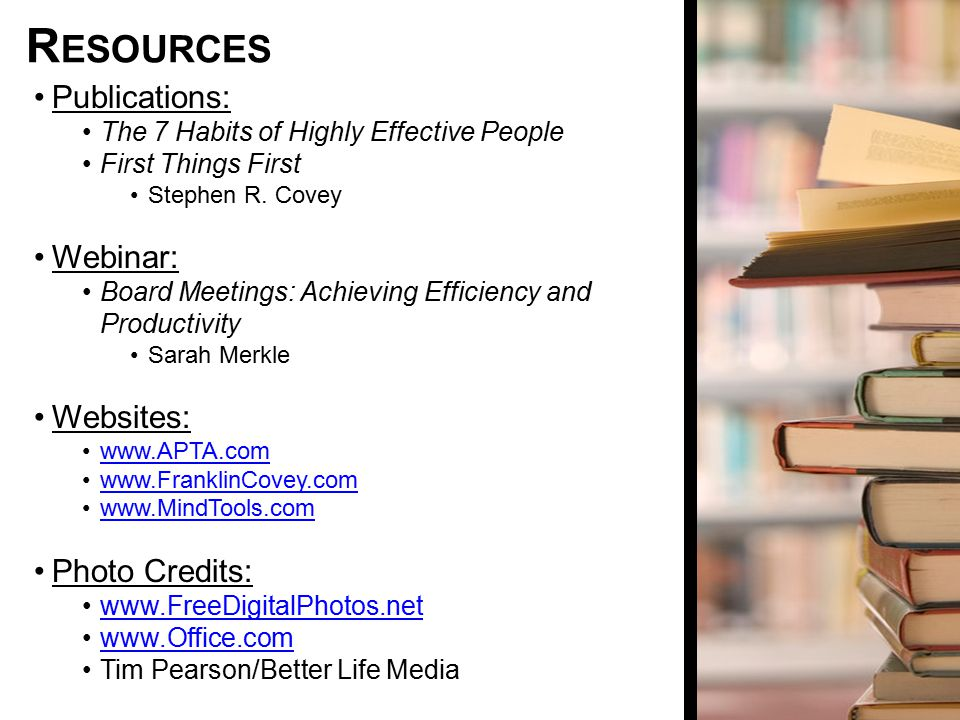 Resources Publications: Webinar: Websites: Photo Credits: