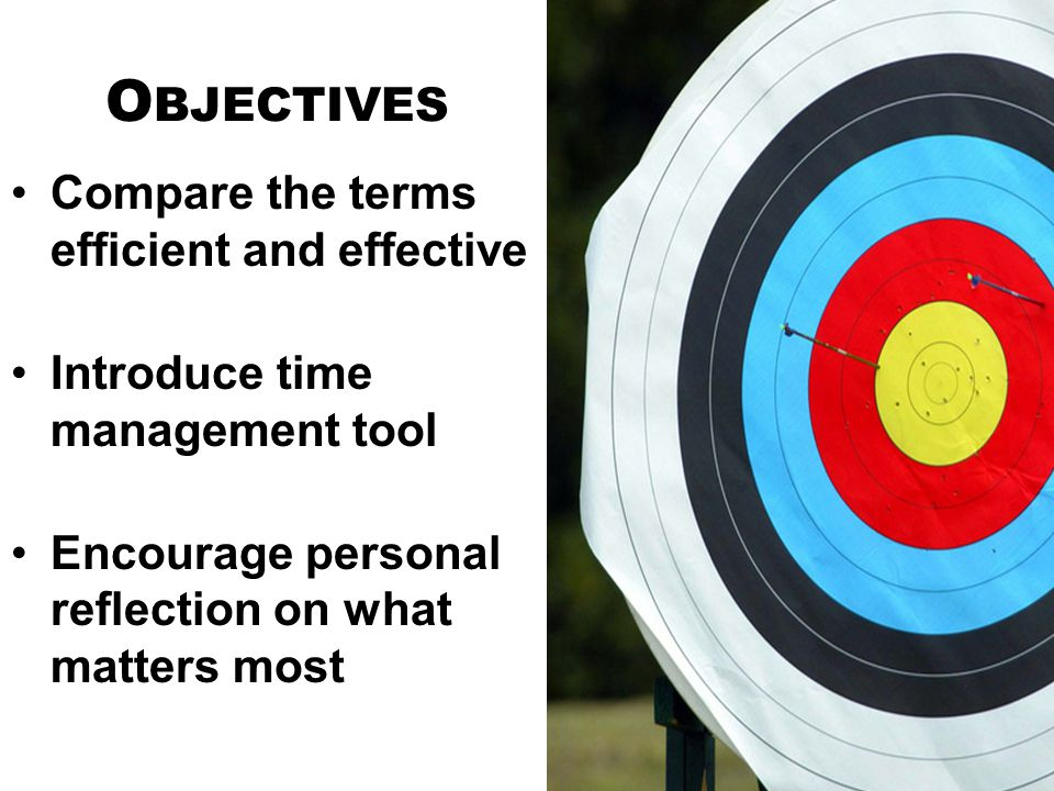 Objectives Compare the terms efficient and effective
