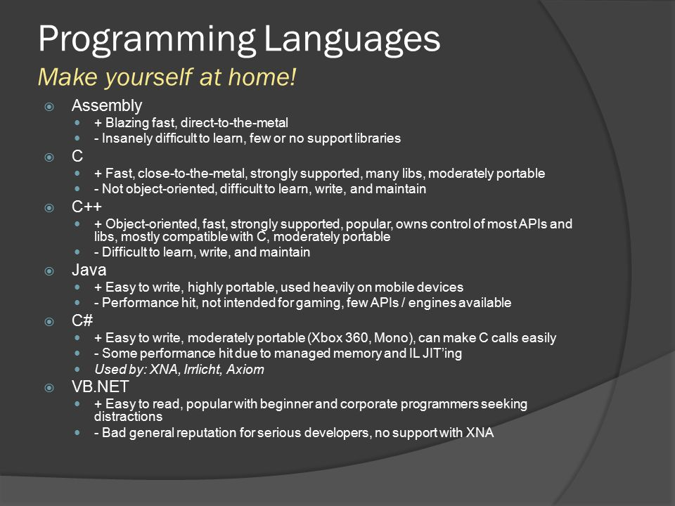 Programming Languages Make yourself at home!