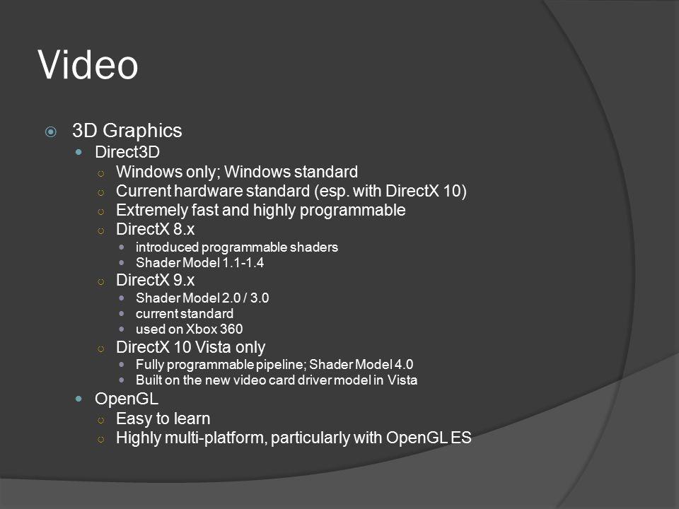 Video 3D Graphics Direct3D OpenGL Windows only; Windows standard