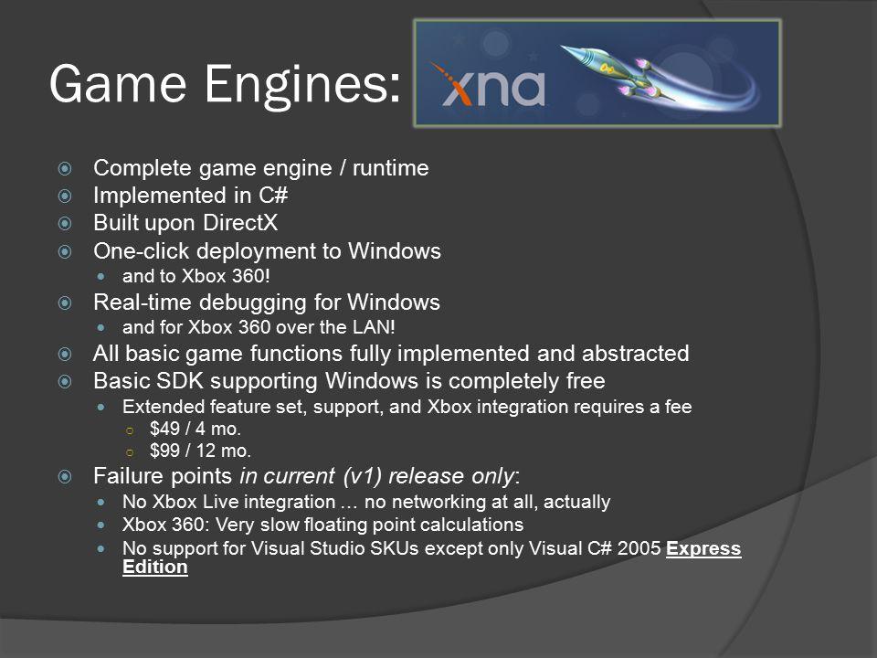 Game Engines: Microsoft XNA