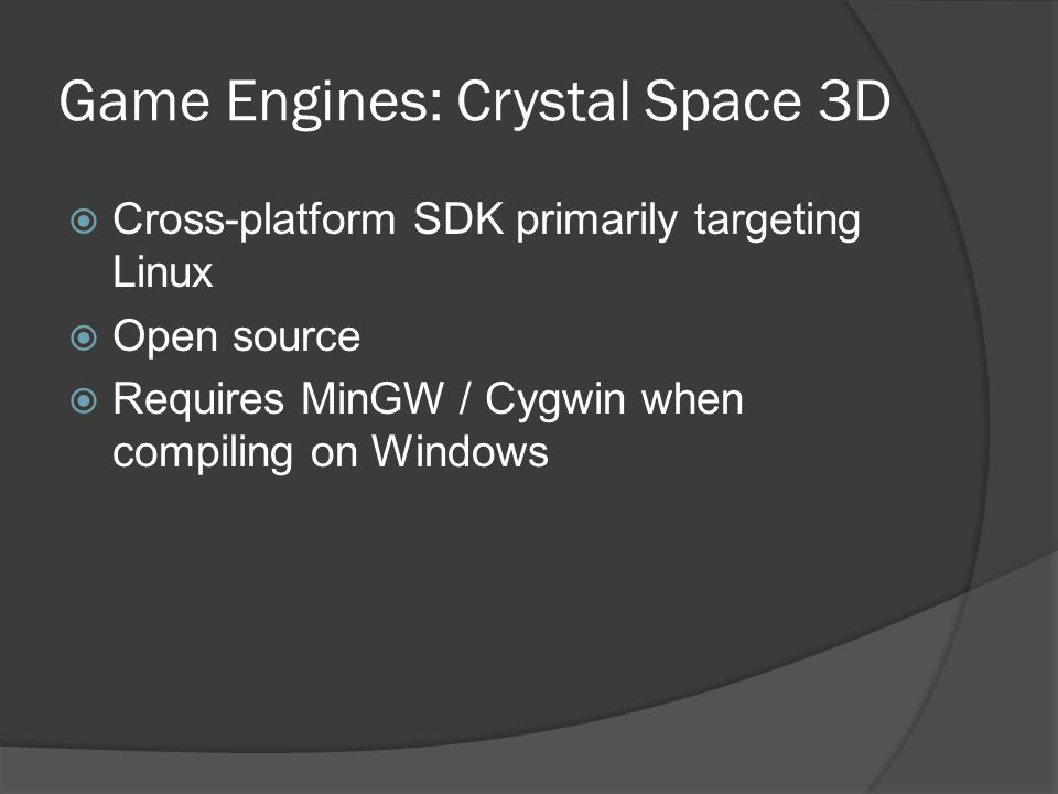 Game Engines: Crystal Space 3D