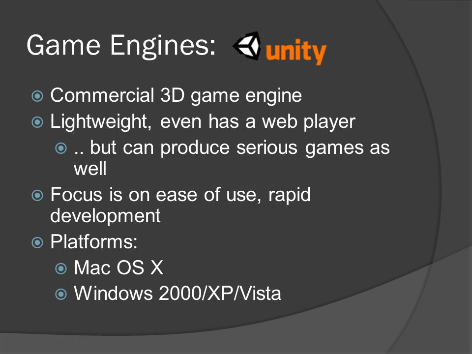 Game Engines: Commercial 3D game engine