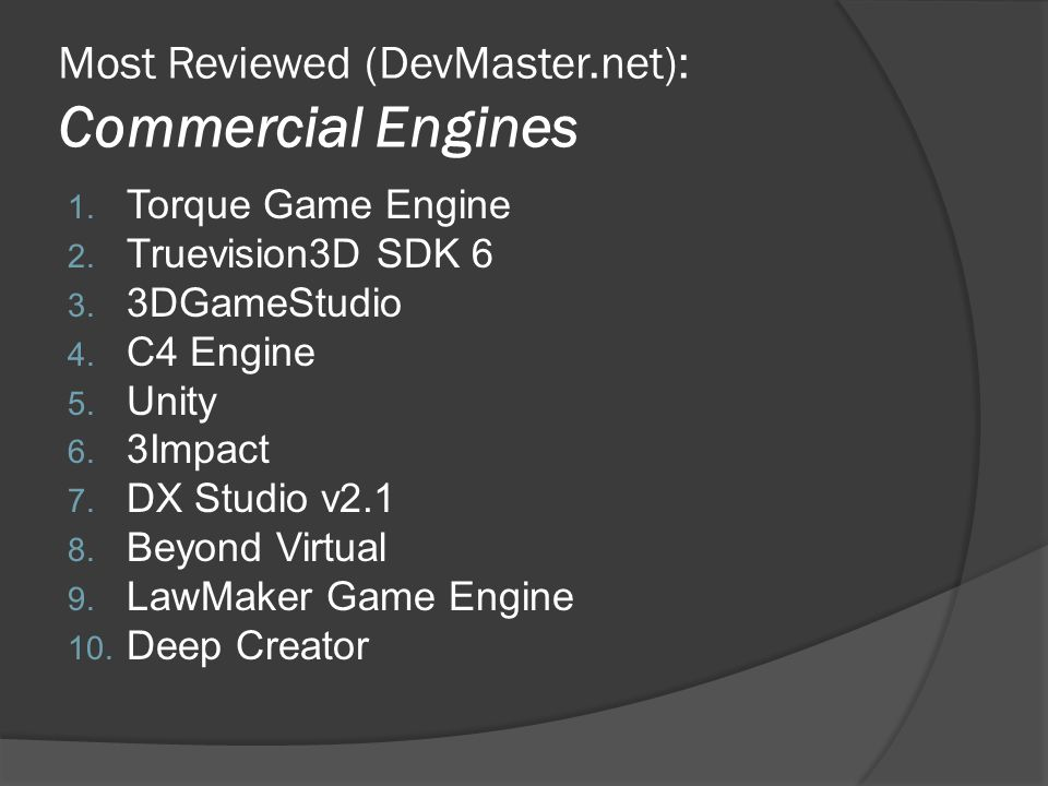 Most Reviewed (DevMaster.net): Commercial Engines