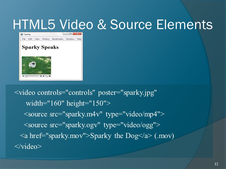 HTML5 Video & Source Elements