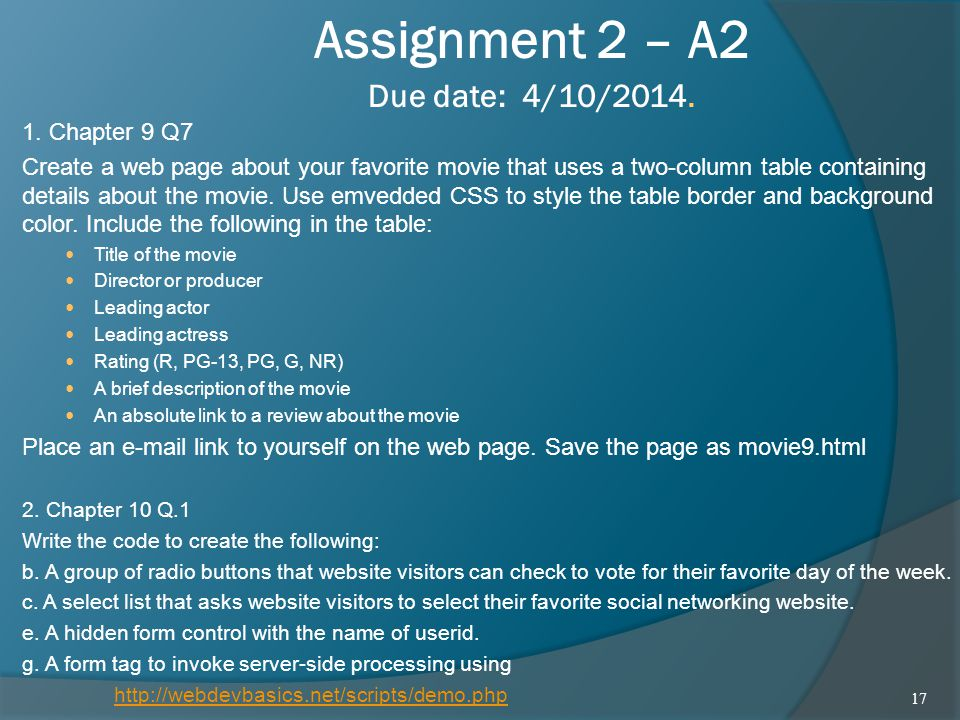 Assignment 2 – A2 Due date: 4/10/2014.
