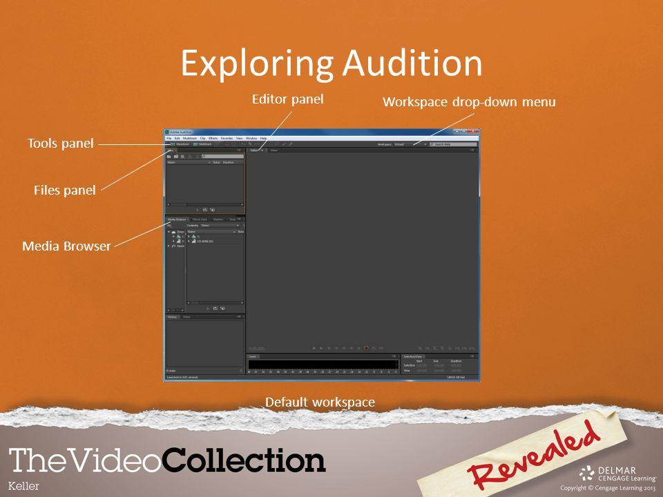 Exploring Audition Editor panel Workspace drop-down menu Tools panel