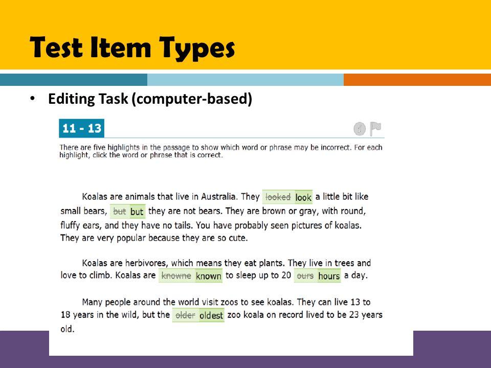 Test Item Types Editing Task (computer-based)