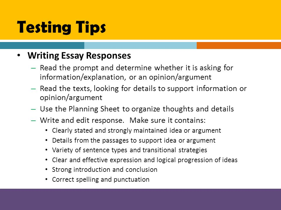 Testing Tips Writing Essay Responses