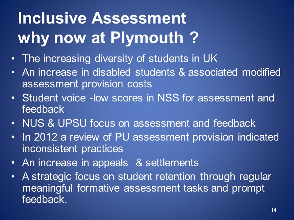 Inclusive Assessment why now at Plymouth