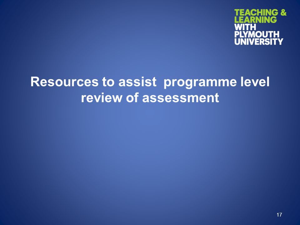 Resources to assist programme level review of assessment