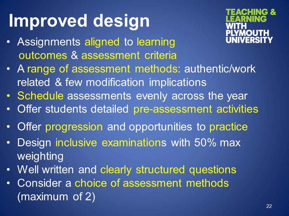Improved design Assignments aligned to learning