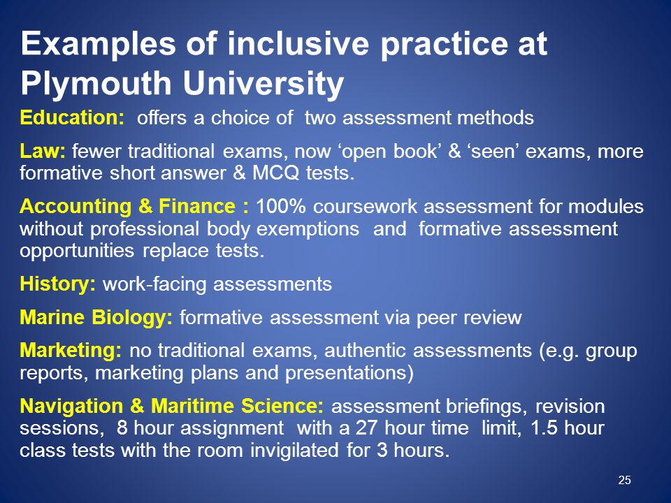 Examples of inclusive practice at Plymouth University