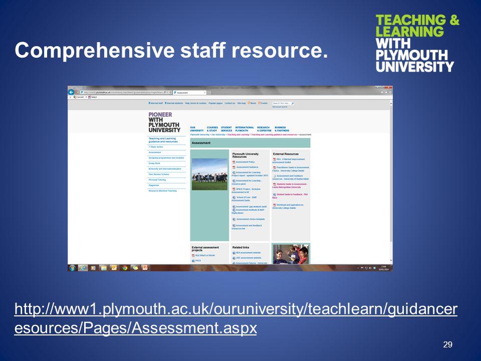 Comprehensive staff resource.