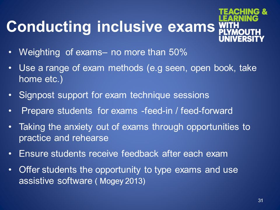 Conducting inclusive exams