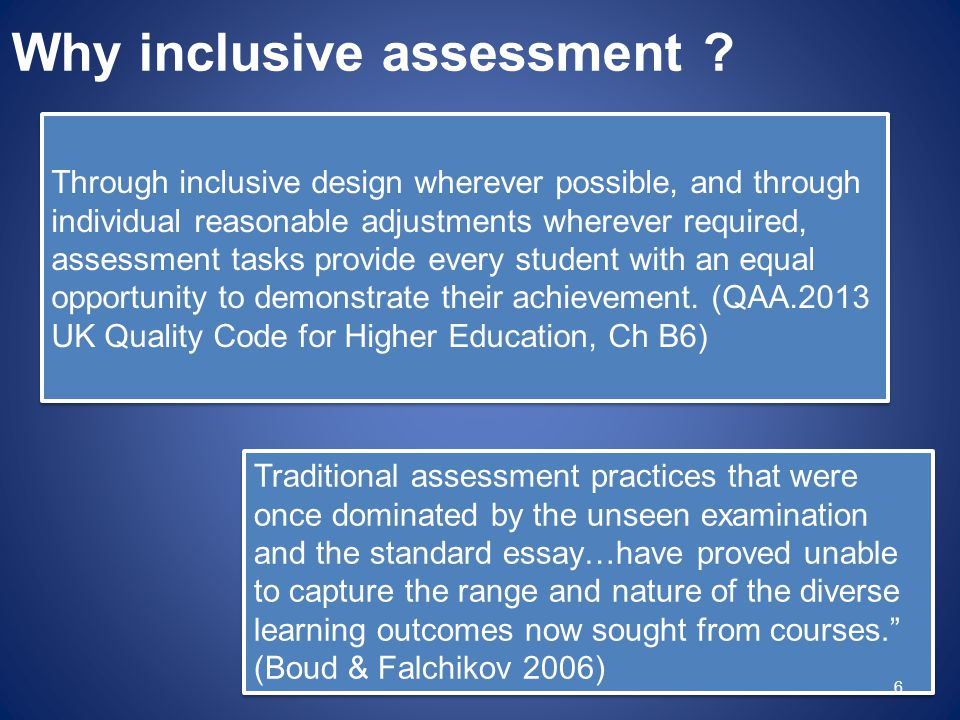 Why inclusive assessment