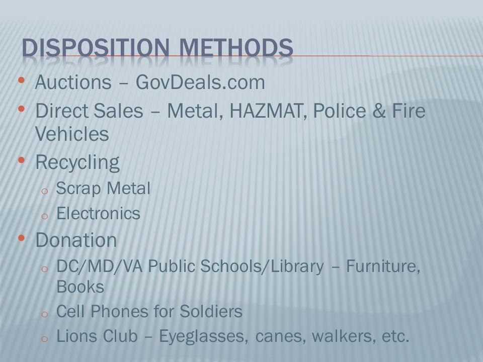 Disposition methods Auctions – GovDeals.com