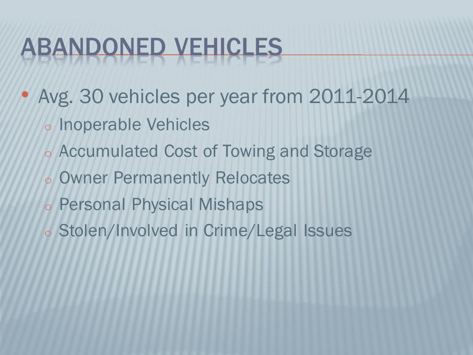 Abandoned Vehicles Avg. 30 vehicles per year from 2011-2014
