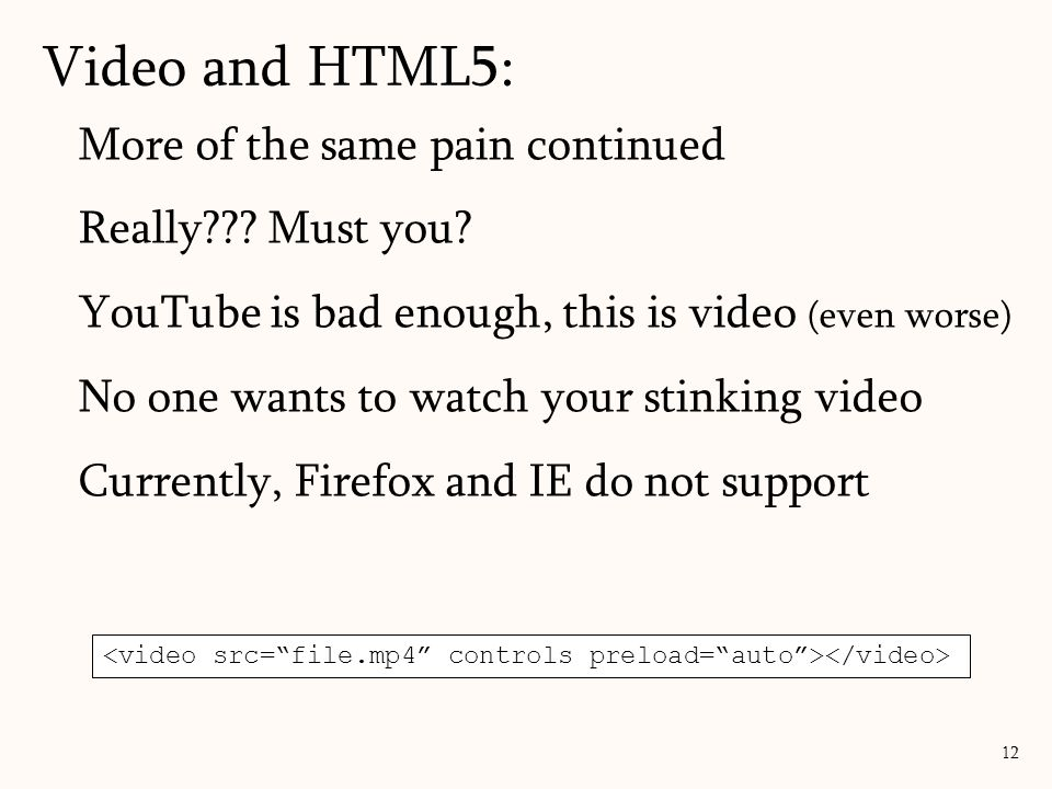 Video and HTML5: More of the same pain continued Really Must you