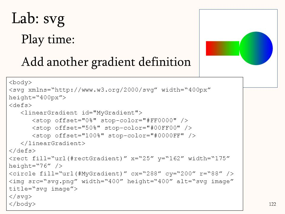 Lab: svg Play time: Add another gradient definition <body>