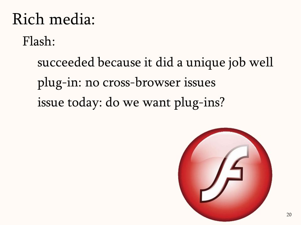 Rich media: Flash: succeeded because it did a unique job well