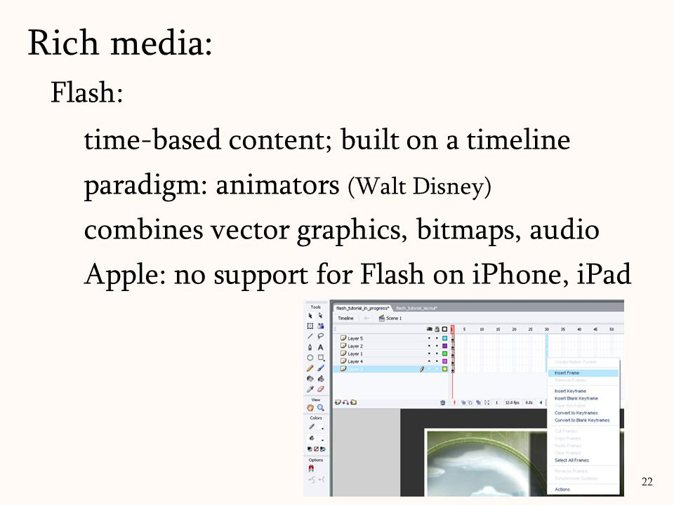 Rich media: Flash: time-based content; built on a timeline
