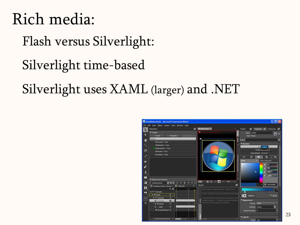 Rich media: Flash versus Silverlight: Silverlight time-based