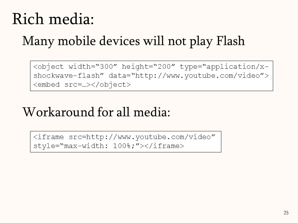 Rich media: Many mobile devices will not play Flash