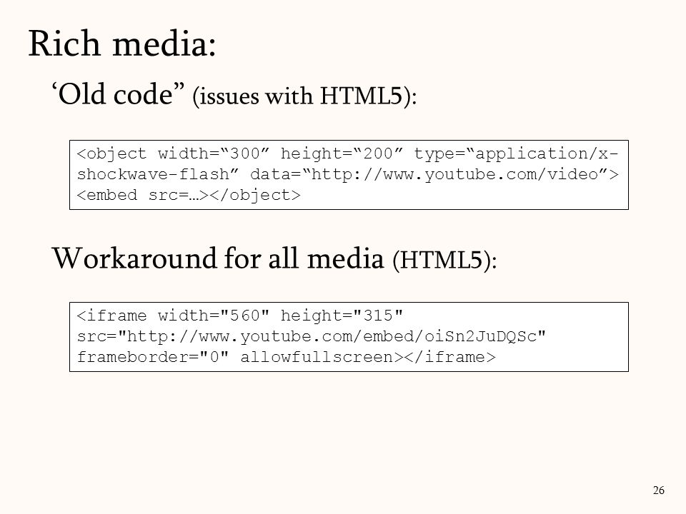 Rich media: 'Old code (issues with HTML5):