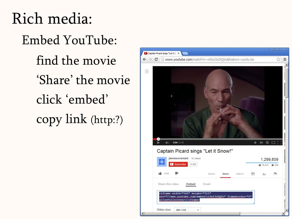 Rich media: Embed YouTube: find the movie 'Share' the movie