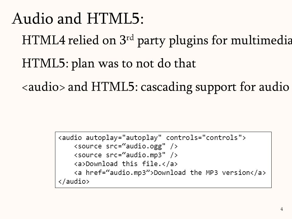 Audio and HTML5: HTML4 relied on 3rd party plugins for multimedia