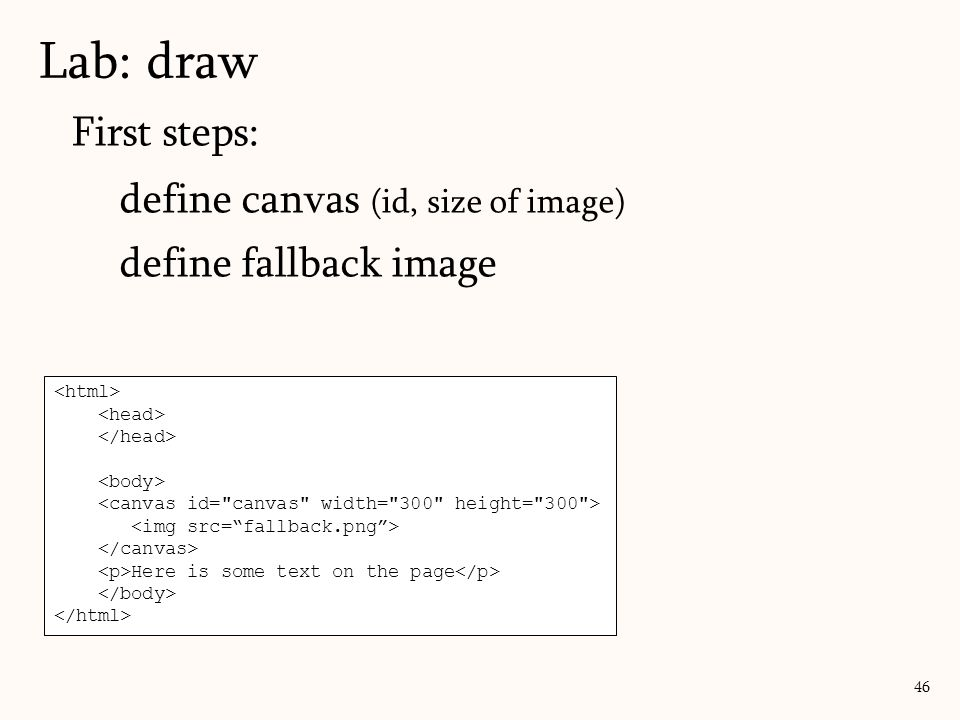 Lab: draw First steps: define canvas (id, size of image)