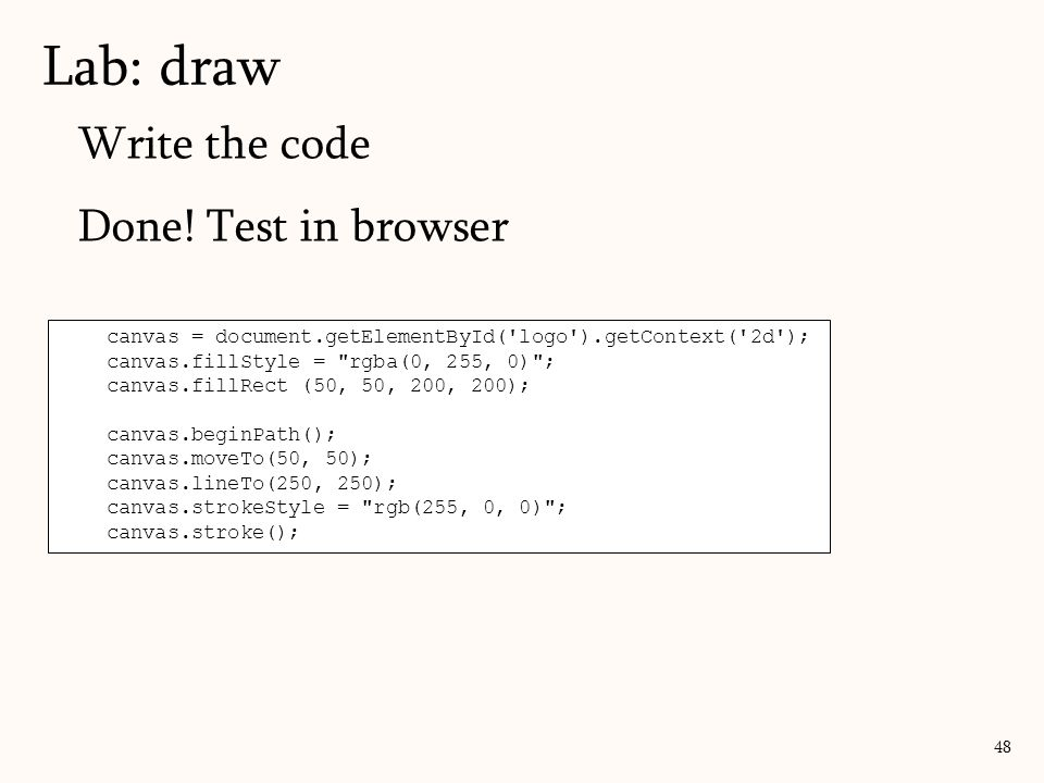 Lab: draw Write the code Done! Test in browser