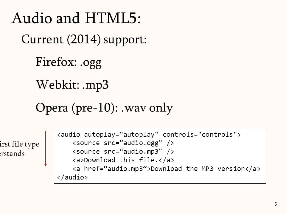 Audio and HTML5: Current (2014) support: Firefox: .ogg Webkit: .mp3