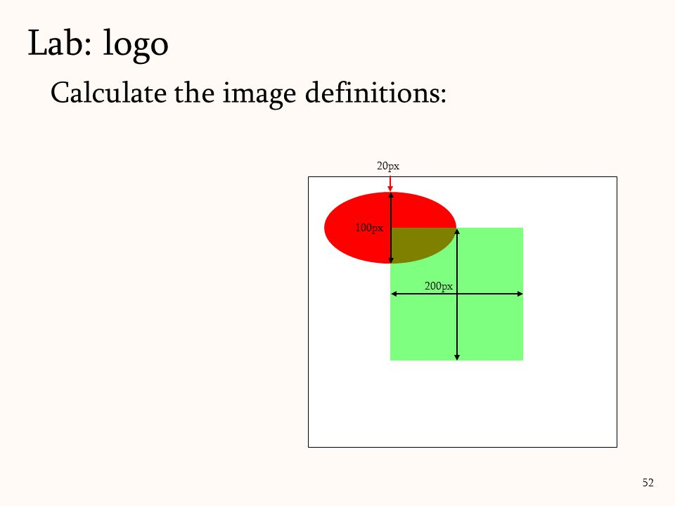 Lab: logo Calculate the image definitions: 20px 100px 200px