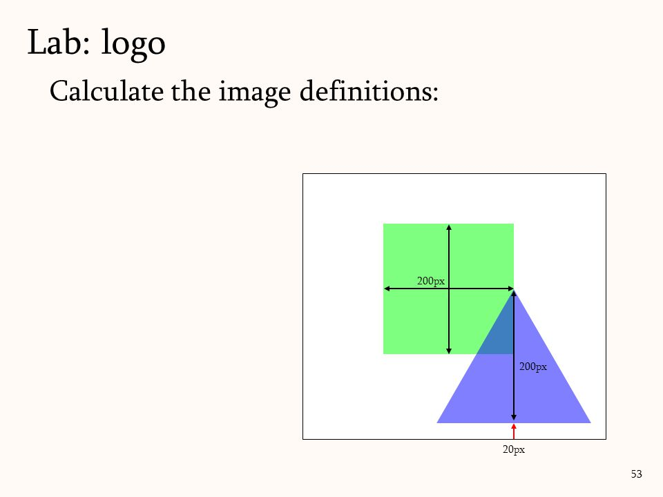 Lab: logo Calculate the image definitions: 200px 200px 20px