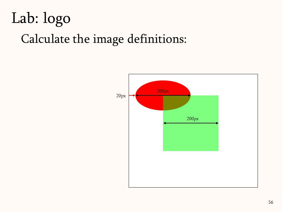 Lab: logo Calculate the image definitions: 200px 20px 200px