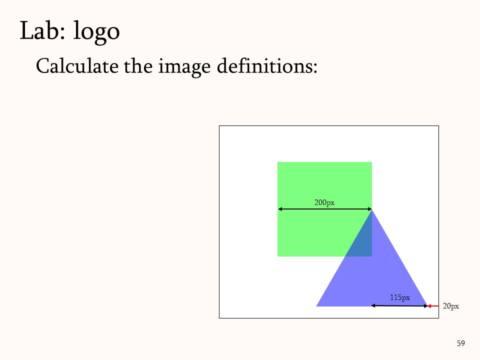 Lab: logo Calculate the image definitions: 200px 115px 20px