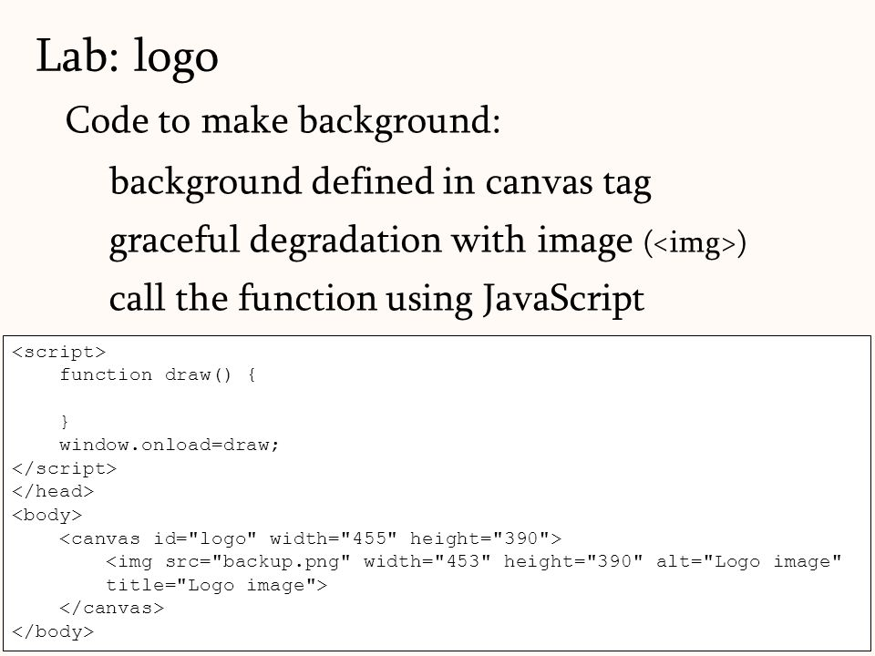 Lab: logo Code to make background: background defined in canvas tag