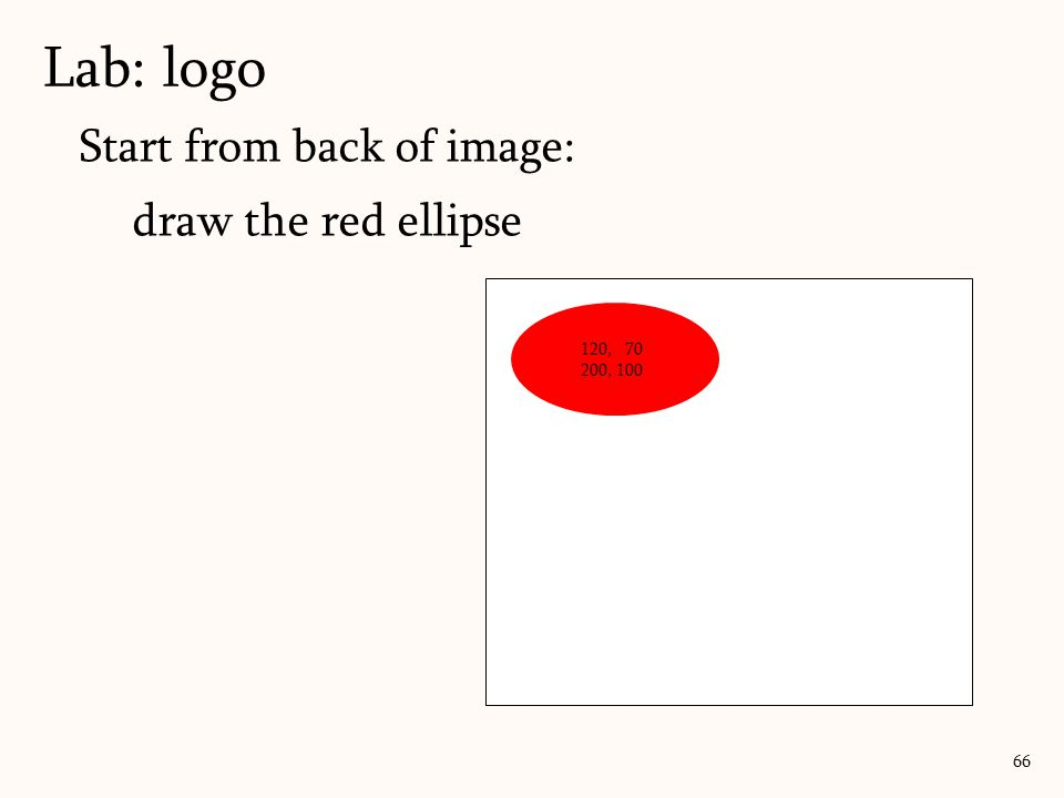 Lab: logo Start from back of image: draw the red ellipse 120, 70