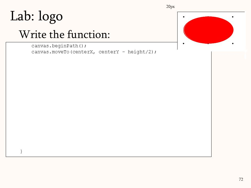 Lab: logo . . . Write the function: . . . canvas.beginPath();