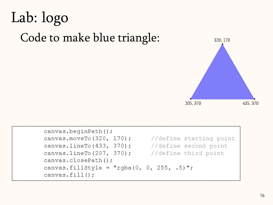 Lab: logo Code to make blue triangle: . . . canvas.beginPath();