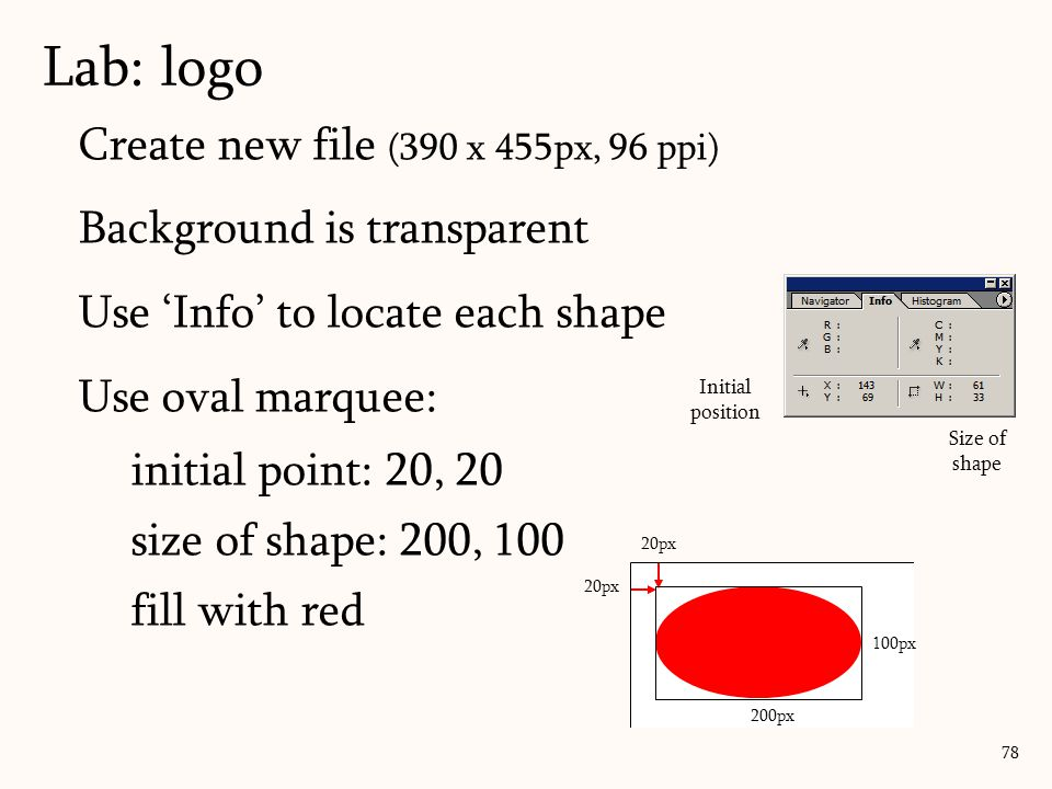 Lab: logo Create new file (390 x 455px, 96 ppi)