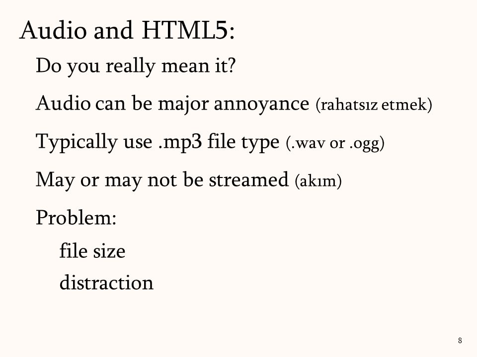 Audio and HTML5: Do you really mean it